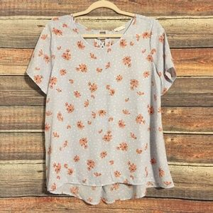 Sienna sky floral polka dot lace up blouse